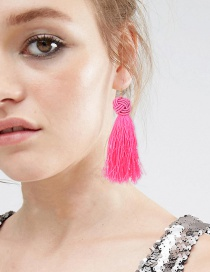 Fashion Plum Red Tassel Decorated Pure Color Earrings
