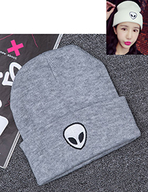 Lovely Gray Alien Pattern Decorated Pure Color Cap