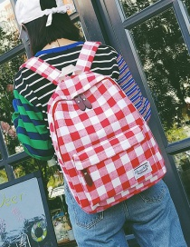 Fashion Red Grid Pattern Decorated Backpack