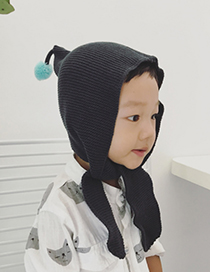 Lovely Black Fuzzy Ball Decorated Child Cap(2-4 Years Old)