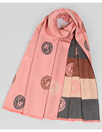 Fashion Pink Fox Pattern Decorated Scarf