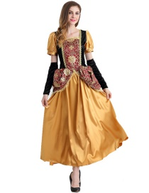 Vintage Yellow Flower Pattern Decorated Party Costume(with Dress and hand sleeves)