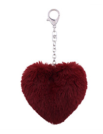 Fashion Claret Red Fuzzy Ball Decorated Heart Shape Key Chain
