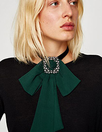 Fashion Green Bowknot&diamond Decorated Choker