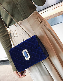 Fashion Blue Pure Color Decorated Square Shape Shoulder Bag