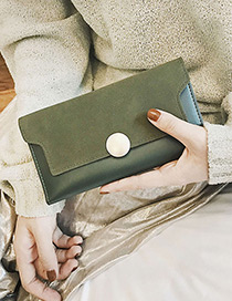 Fashion Green Round Shape Decorated Pure Color Wallet