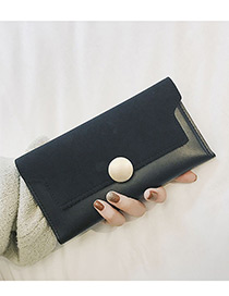 Fashion Black Round Shape Decorated Pure Color Wallet