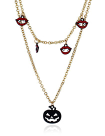 Fashion Red+gold Color Lip&pumpkin Pendant Decorated Long Necklace
