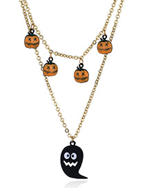Fashion Yellow+gold Color Pumpkin Pendant Decorated Long Necklace