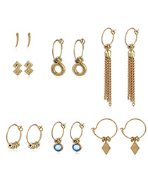 Fashion Gold Color Tassel&diamond Decorated Simple Earrings(7pcs)