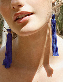 Vintage Sapphire Blue Long Tassel Decorated Pure Color Earrings