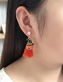Fashion Orange Pumpkin&tassel Decorated Earrings