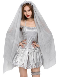 Fashion Silver Color Pure Color Decorated Cosplay Costume(with mantilla,vervel,dress,gloves)