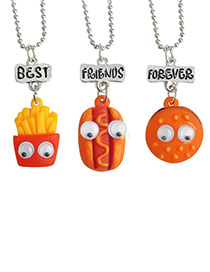 Fashion Orange Hamburgers Shape Decorated Necklace ( 3 Pcs )