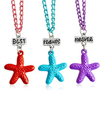 Fashion Multi-color Star Shape Decorated Necklace ( 3 Pcs )