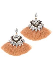 Fashion Khaki Tassel Decorated Sector Shap Earrings