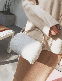Lovely White Pure Color Decorated Shoulder Bag