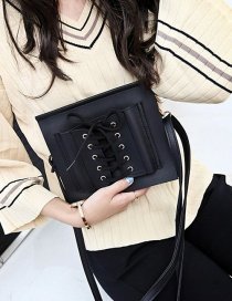 Fashion Black Bandage Design Pure Color Mobile Phone Bag