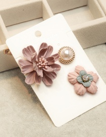 Fashion Purple Flower Shape Decorated Brooch (3pcs)