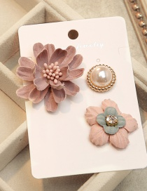 Fashion Pink Flower Shape Decorated Brooch (3pcs)