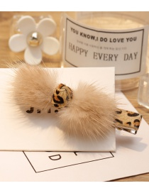Fashion Beige Fuzzy Ball Decorated Hair Clip