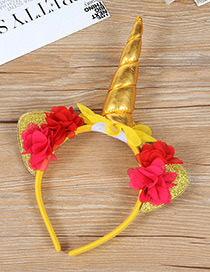 Trendy Gold Color Unicorn Shape Decorated Hair Hoop
