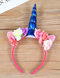 Trendy Sapphire Blue Unicorn&flower Decorated Hair Hoop