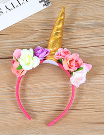 Trendy Gold Color Unicorn&flower Decorated Hair Hoop