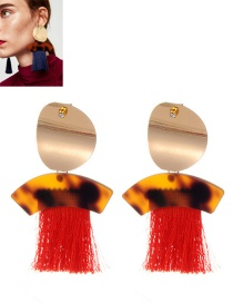 Fashion Red Oval Shape Decorated Tassel Earrings