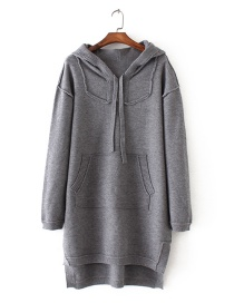 Fashion Gray Pure Color Decorated Long Sleeve Hoodie