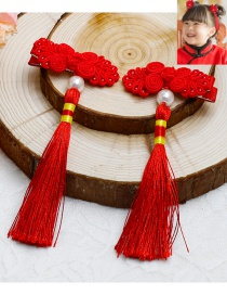 Lovely Red Pearl&tassel Decorated Pure Color Hairpin(2pcs)