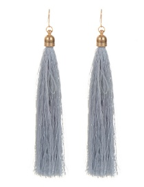 Fashion Gray Long Tassel Decorated Pure Color Earrings