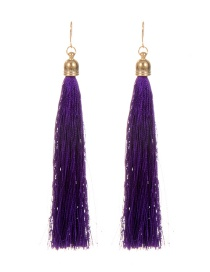 Fashion Purple Long Tassel Decorated Pure Color Earrings