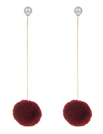 Fashion Claret Red Fuzzy Balls Decorated Long Earrings