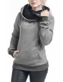 Fashion Gray Pure Color Decorated Thicken Hoodie