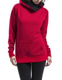 Fashion Red Pure Color Decorated Thicken Hoodie