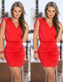 Trendy Red Pure Color Decorated V Neckline Long Dress
