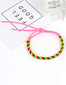 Trendy Pink Color Matching Decorated Hand-woven Bracelet
