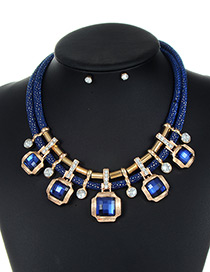 Trendy Sapphire Blue Square Shape Decorated Double Layer Jewelry Sets