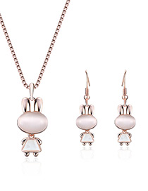 Fashion Gold Color Small Rabbit Pendant Decorated Jewelry Sets