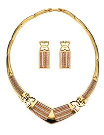 Fashion Gold Color Geometric Shape Design Pure Color Jewelry Sets