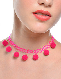 Trendy Plum Red Fuzzy Ball Decorated Pure Color Choker