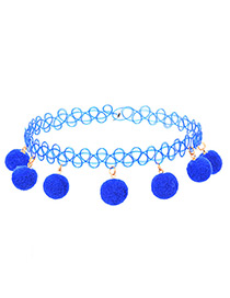 Trendy Blue Fuzz Ball Decorated Pure Color Choker