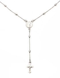 Trendy Silver Color Cross Shape Pendant Decorated Necklace