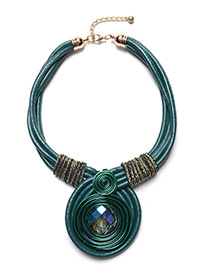 Exaggerated Green Diamond Decorated Hand-woven Necklace