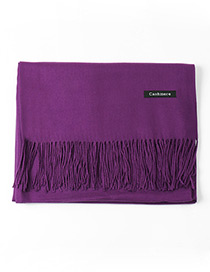 Trendy Purple Tassel Decorated Pure Color Scarf