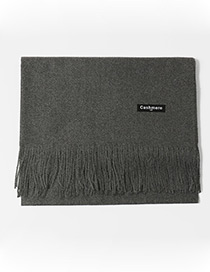Trendy Gray Tassel Decorated Pure Color Scarf