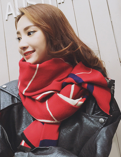 Fashion Claret Red Line Pattern Ecorated Thicken Dual Use Scarf