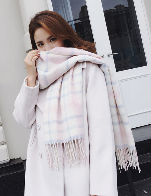 Fashion Light Purple+white Grid Pattern Decorated Thicken Dual Use Scarf