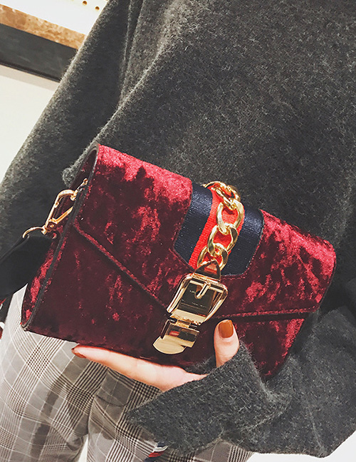 Trendy Red Buckle Decorated Square Shape Shoulder Bag